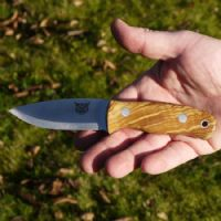 TBS Lynx Bushcraft Neck Knife - Curly Birch - Nordic Sheath & Firesteel